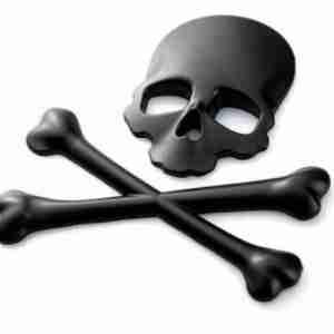Black Metal Skull and Cross Bones